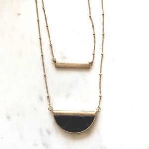Gold Marble Necklace Black Stone Bar Half Moon NWT